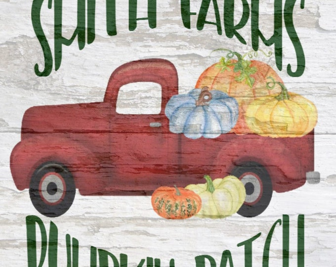 Custom Pumpkin Patch, Your Name Farms, Vintage Truck,  Personalized Pictures,  Simple Southern Decor, Magnetic Picture and Framing System