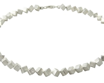 Stunning 925 Sterling Silver Necklace with Handmade Cubes 6mm -  Goldsmiths Quality