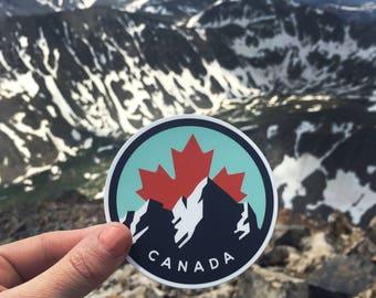 Canada Mountain Maple Leaf | Vinyl Sticker Design