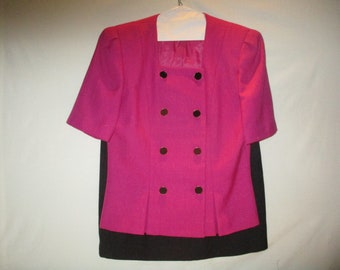 KASPER for K.S.L. Pink and Black Two Piece Suit Size 12