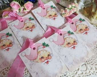 Pretty Pink SantaTags-with vintage Seam Binding Ties-Set of 6-ATC