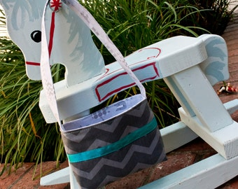 Handmade Toddler Purse. Chevron Stripe featuring zoo animals with teal ribbon by FanGirl. SuperHero.