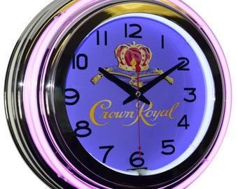 "Crown Royal Whisky 15"" Purple Double Neon Advertising Clock Bar Pub Man Cave Decor"