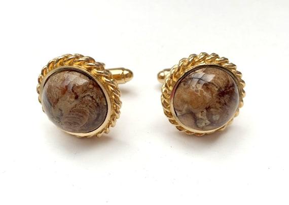 Dante Cufflinks - Brown swirl Jasper stone -  Gemstone - round Gold tone cufflink