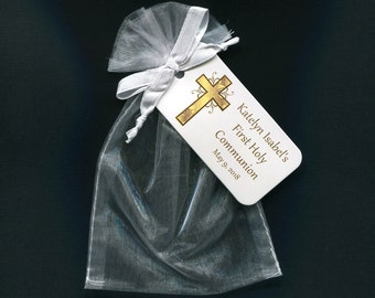 Personalized First Communion Favor Bags - First Communion Tags - Personalized Tags - Gold - Cross - White Organza Bags - 4 X 6 Organza Bag