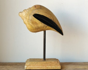 Natural Timber Conch Shell Statue on Stand