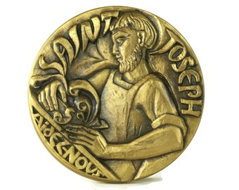 Saint Joseph Vintage French Bronze Medal. Christian Gifts and Religious Decor.