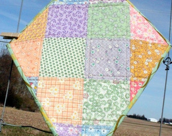 Quilted Wall Art - Let's Go Fly a Kite - Checkerboard of 1930s prints
