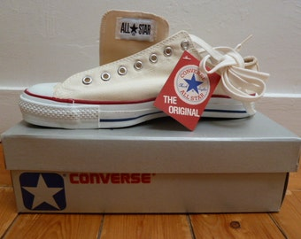 Converse 1980s vintage, low-top white, NOS, deadstock in box, size 10.5, 11, 11.5, 12. USA made.