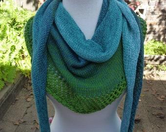 Spring Shawl. Cotton blend scarf. Lightweight cotton shawl. Soft Lacy shawl. Jade green scarf. Aqua blue shawl. Summer scarf. Ladies scarf.