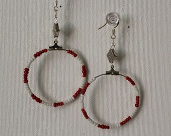 Red And White Hoop Earrings/ Free Shipping/ Beaded Hoop Earrings For Women/All Occasion Earrings/Seed Bead Hoop Earring Sale/Dangle Earring