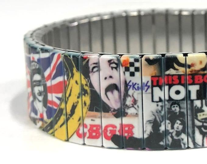 Punk Rock bracelet-Stretch bracelet-70s-80s-London-Wrist Art-Sublimation-Stainless Steel- 50th birthday