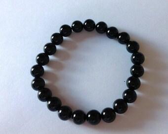 """Black Tourmaline 8mm Round Beaded Stretch Bracelet Black Wristband 8"""""""
