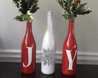 Christmas Decorated Wine Bottles