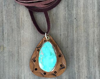 Sterling Kingman Turquoise. Handmade . Rustic . Hand Forged. Soft Leather . Rustic Necklace