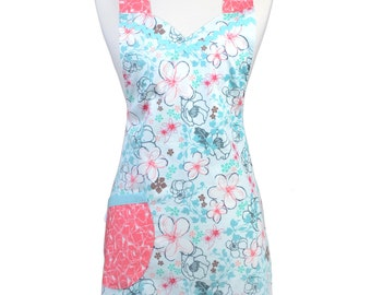 Flirty Ruffled Apron - Aqua and Coral Art Gallery Novelle - Large Pocket - Ruffled Hemline - Chef - Kitchen Cooking - Over the Head Comfort