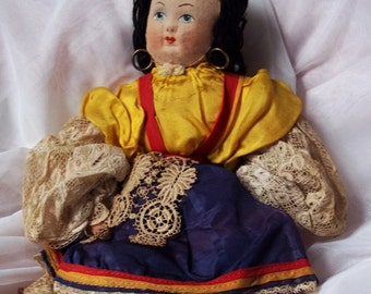 Vintage Doll :Painted Faced Doll,  A Long Forgotten Vintage Attic Find, Soft Doll With Silk Sleeves, Showing Her Knicker To The Etsy World -