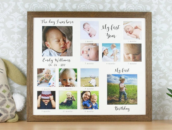 My first year personalised oak photo frame first birthday
