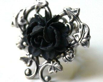 Victorian Black Rose Ring in Silver