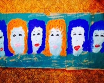 BLUE HAIRED and REDHEADS original painting reduced price