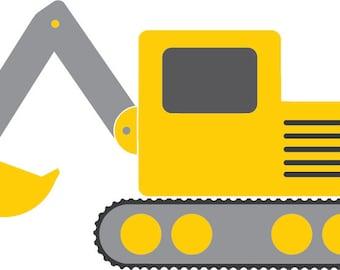 Excavator svg - construction svg - construction party svg - bulldozer svg - construction shirt - dxf - png - construction iron on