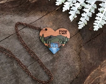 Wooden Heart Necklace - PNW is BEST