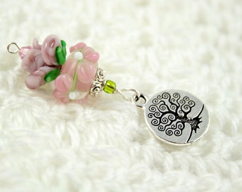 Blessingway bead - Rose Blossoms Tree of Life - Mother Blessing bead, mama goddess