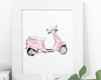 French Vespa Scooter Print - ParisianArt Print 8x10 or 5x7
