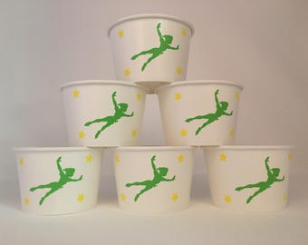 Peter Pan party snack cups, Peter Pan Birthday Party Snack Cups
