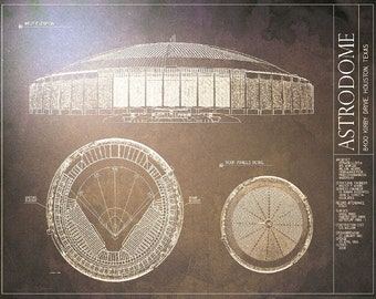 Astrodome etsy astrodome blueprint vintage baseball poster malvernweather Choice Image