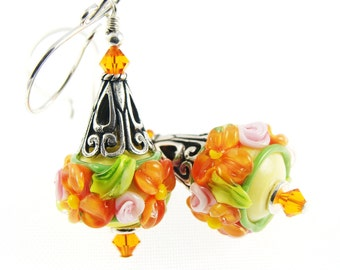 Peach Orange Lampwork Earrings,  Glass Bead Earrings, Flower Beaded Earrings, Glass Bead Jewelry, Lampwork  Jewelry, Beadwork Earrings
