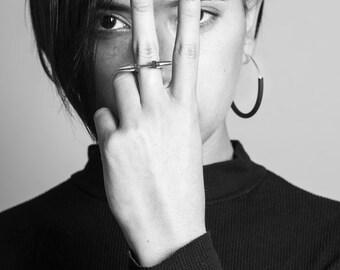 M ring , Geometric Ring, Edgy Ring, Minimalist Ring, Spike Ring. Punk Ring