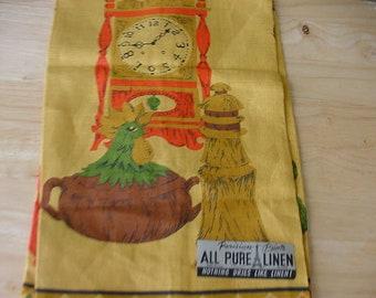 Vintage Parisian Prints, Linen Tea Towel, Kitchen, Gold with Clock, Chicen, Pepper Mill, Original Tag