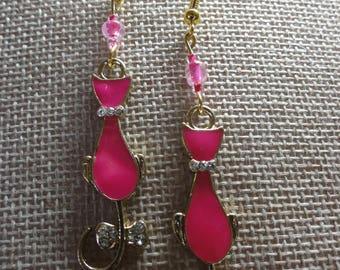 Hot Pink Enamel Cat Earrings