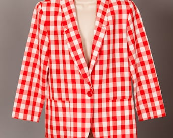 Vintage 80s red and white checkered Womens Jacket Blazer - REQUIREMENTS PETITE - 8