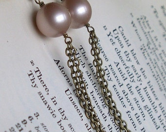 Vintage Look Brass and Swarovski Crystal Pearl Earrings SRAJD