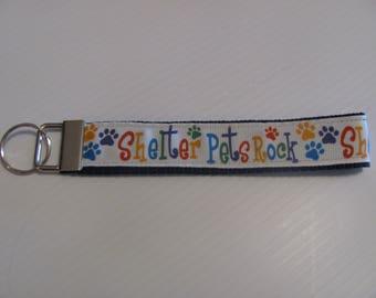 Shelter Pets Rock  Wristlet Key Fob