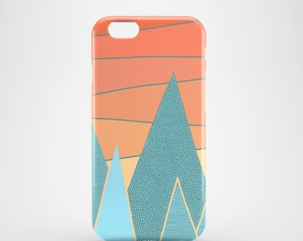 Sunset mobile phone case / orange iPhone X, iPhone 8, iPhone 7, iPhone 7 Plus, iPhone SE, iPhone 6/6S, iPhone 5/5S / illustrated phone case