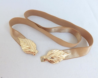 Gold Elastic Waist Belt. Gold Leaf Buckle. Bridal/ Bridesmaid Gold Wedding Belt.
