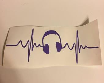 Music headphones heartbeat decal