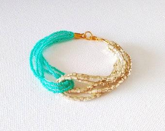 Turquoise bracelet, seed bead bracelet, aqua bracelet, multistrand bracelet, beaded bracelet,bridesmaid gift,bridesmaid bracelet,anklet,boho