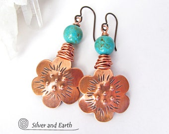 Copper Flower Earrings, Turquoise Earrings, Nature Earrings, Handmade Copper & Turquoise Jewelry, Flower Jewelry, Nature Gift for Her