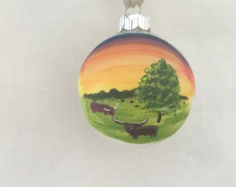 Texas Longhorn Ranch, Hand Painted Glass Ornament
