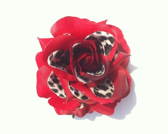 Leopard print and Red Rose Hair Clip