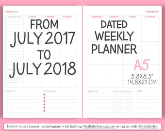 2017 Weekly planner Printable weekly planner from July 2017 to July 2018 Dated Planner /A5 daily planner weekly planner, 2017 Agenda