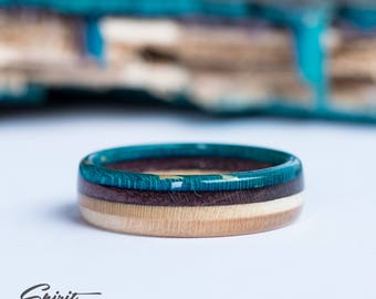 Wooden Ring - Skateboard Ring - Wedding Band - Canadian Maple - Ecological Jewelry - Waterproof - Skate Ring -Blue - Boyfriend Gift - Purple