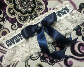 Dallas Cowboys Inspired Pearl & Ivory Lace Football Wedding Garter Belt Toss or Set