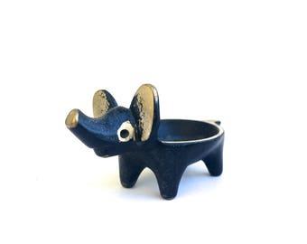 Vintage Hagenauer Bosse Elephant~ Elephant Egg cup~ Mid Century Walter Bosse figurine~ pipe holder~ Ring Dish~ Nursery Decor