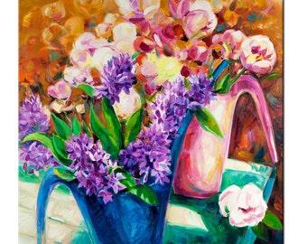 Original Oil Flowers, 23x23 in, Original Art Impressionistic OIl on Canvas by Ivailo Nikolov