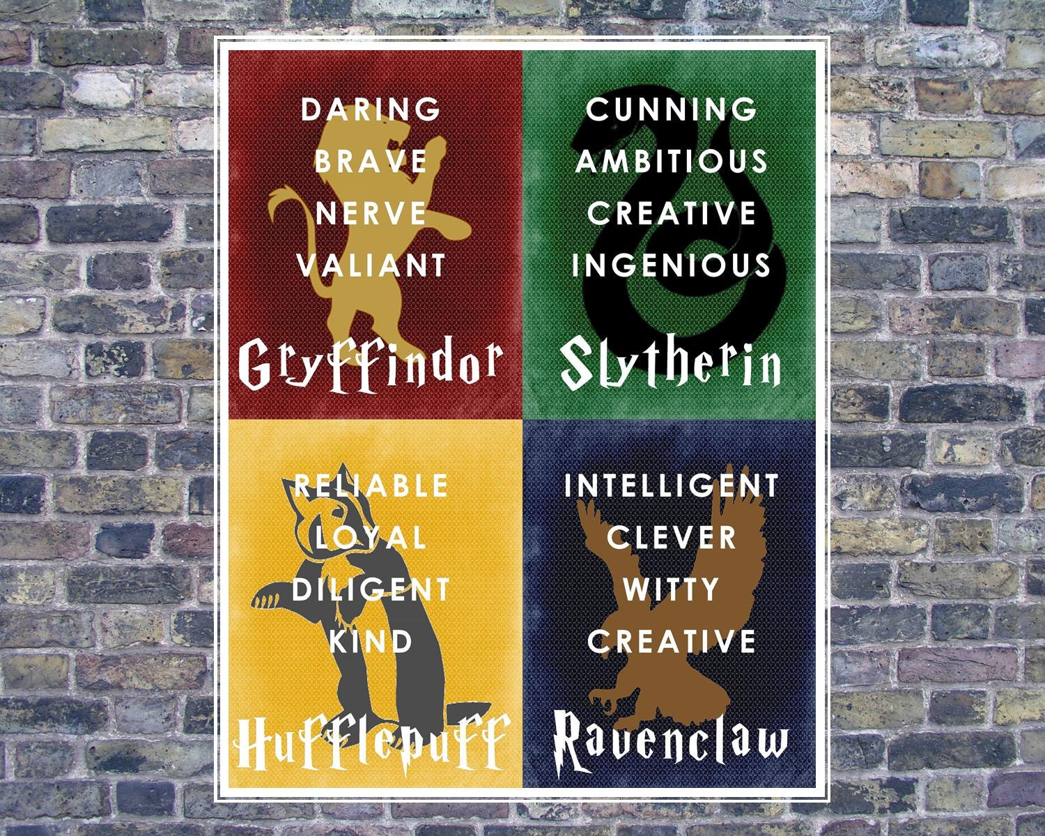 harry potter hogwarts house banner 16x20 digital jpg instant. Black Bedroom Furniture Sets. Home Design Ideas